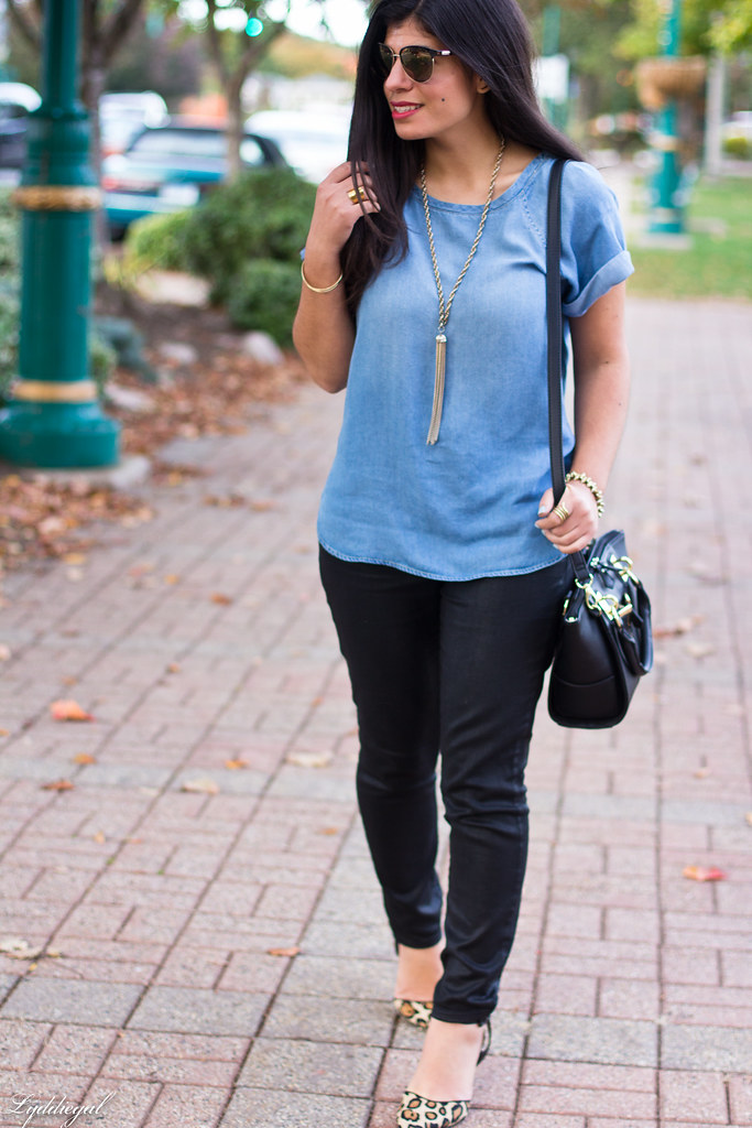 chambray tee, black coated jeans, leopard pumps-6.jpg