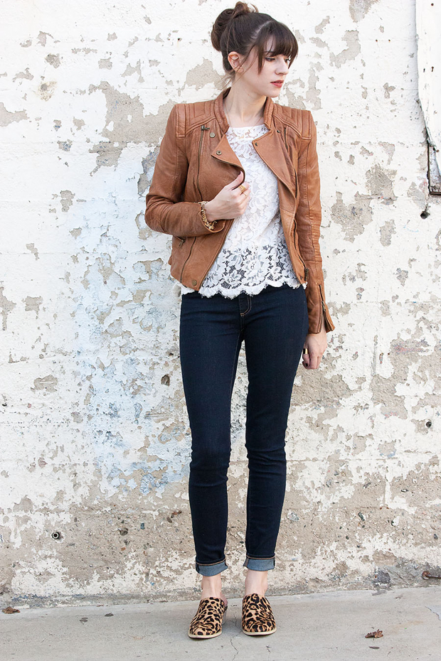 leather jacket, lace tee, leopard mules, gap jeans