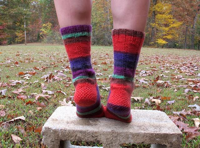 Self-Striped Vanilla Latte Socks