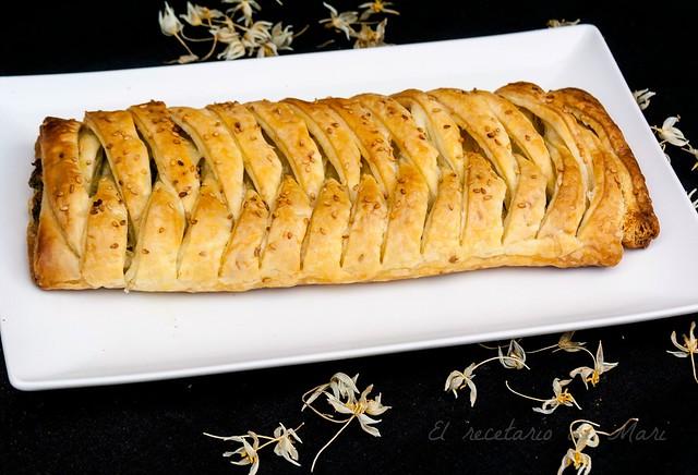Trenza de hojaldre con espinacas y queso 1