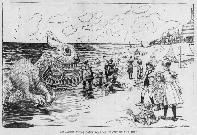 "Walt McDougall - The Salt Lake herald., June 15, 1902, ""An Awful Thing Came Roaring Up Out Of The Surf"""