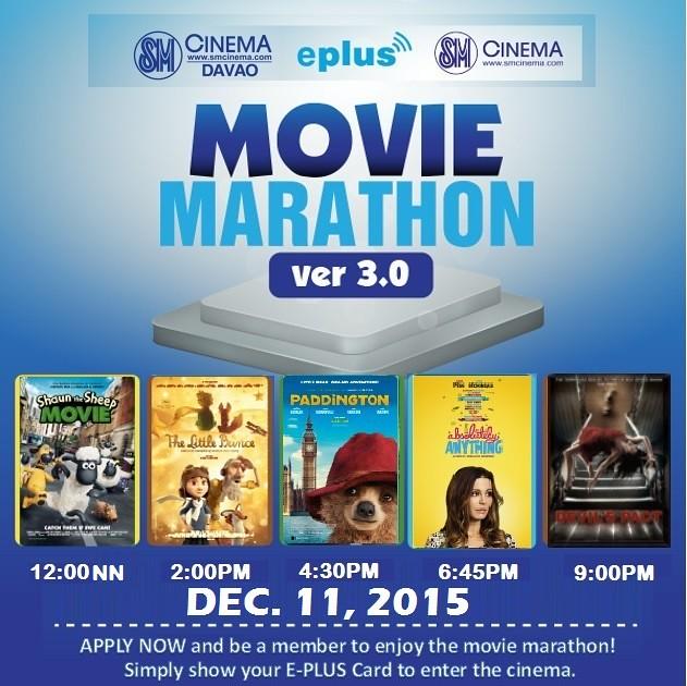 Movie Marathon 3.0 E-Plus Card December 11, 2015 SM Cinema Davao - reposted at DavaoLife.com