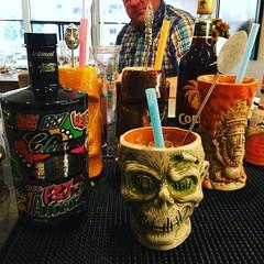 Tonight's drinkie… The Kiwi Grog… Middled kiwi and lemon, 1 oz Martinique rum, 1 oz coruba dark rum, 1 oz light rum, 1/4 oz st Elizabeth allspice dram, 1 oz Orgeat syrup, 1 dash of of orange bitters, shaken with 2 oz crushed ice and served in a Tiki mug …