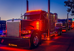 """""""El Patron,"""" a 2000 Peterbilt 379, with lights on during the 34th annual Rotella SuperRigs light show in downtown Joplin Missouri"""
