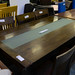 Modern Darkwood kitchen table glass top