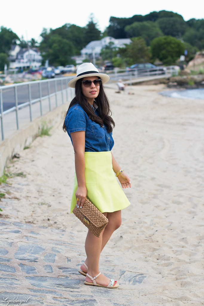 chambray shirt, neon skirt, panama hat-7.jpg