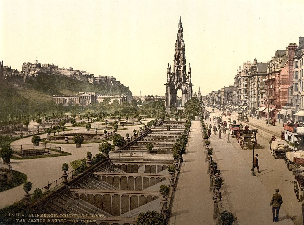 Princess Street (i.e. Princes Street), the castle, and Scott Monument, Edinburgh, Scotland