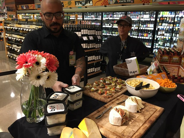 Cheese sampling at Whole Foods