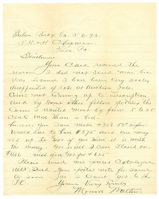 1893 letter from Monroe F. Walters to the Chapman Brothers