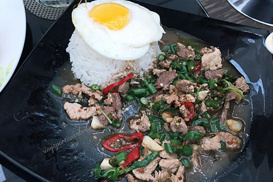 18 Yangon Airport - Espace Cafe Rice with Spicy Pork Stir Fry and Egg