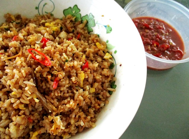 Kampung fried rice with cincaluk dip