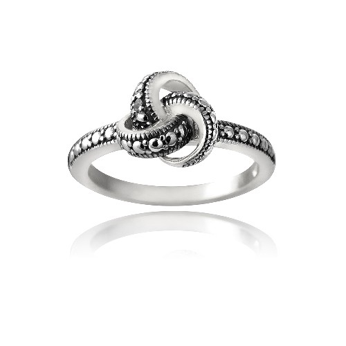 925 Silver Love Knot Black Diamond Accent Promise Ring