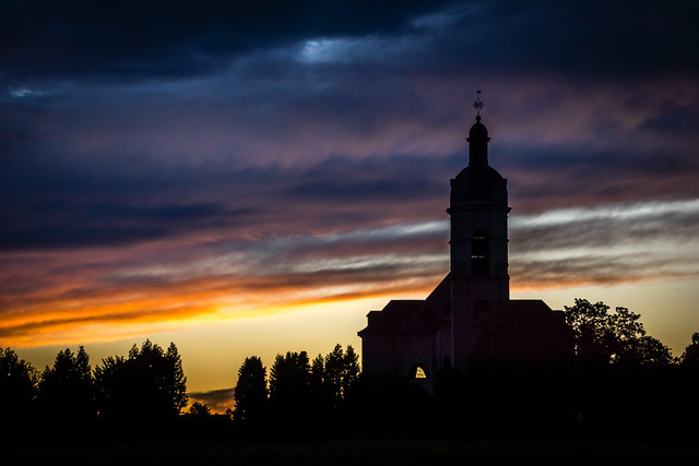 POTD: Sunset in the clouds at the Abbey of Vlierbeek