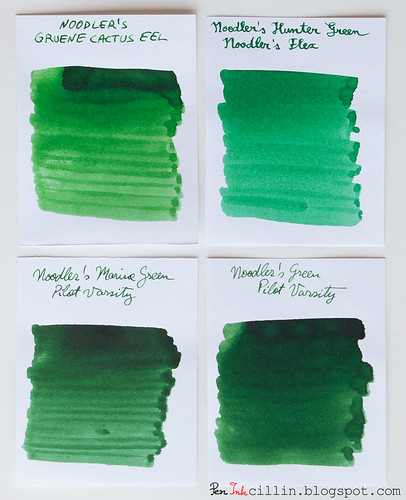 Noodler's Gruene Cactus Eel vs Hunter Green vs Marine Green vs Green