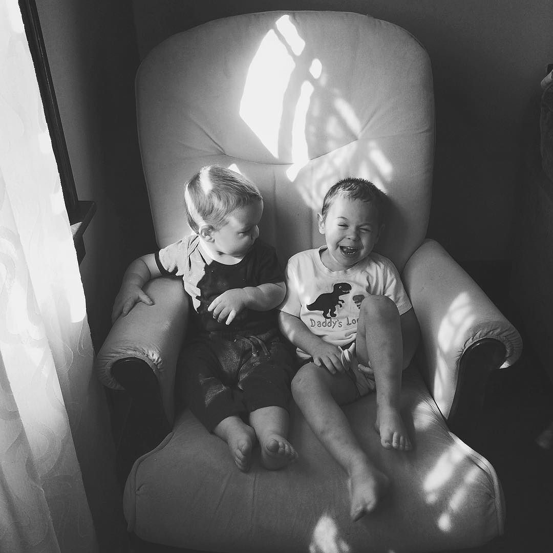 I love this shot of the boys. Nothing too particularly special about it, but it captures that never ending joy that Micah has and shows just how closely Ezra studies his big brother. I'm so thankful for the iPhone camera. Moments like these happen too qui