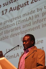 21 September 2015 - 7:57am - ZimLA Matebeleland Chairperson Jerry Mathema presenting a ZimLA report at the IFLA WLIC 2015 in South Africa.