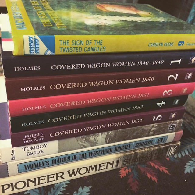 The Pile. I'm going to start by finishing the very end of the Nancy Drew that's been sitting on my bedside table for weeks. #readathon #books #ladyjournals