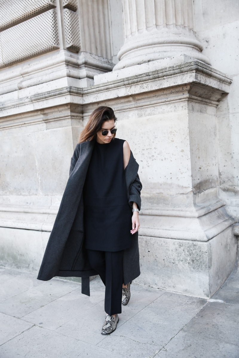 MATCHES x MODERN LEGACY RAEY new season layers Paris fashion week street style charcoal coat navy mini dress over pants (1 of 1)