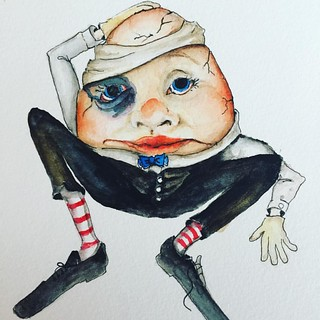 #humptydumpty had a great fall!! And so the #story goes.  #drawing #colorful #watercolour #watercolor #water #color #illustration #illustrations #childrensbook #childstorybook #childhoodmemories #art #artist #artwork #artfulliving #winsorandnewton