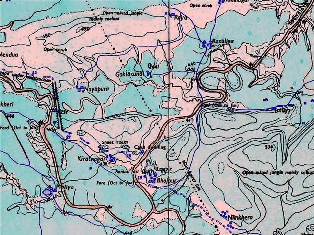 चित्र चार, भीमकुण्ड का वेस्टवियर (*), कलियासोत और बेतवा का संगम तथा कलियासोत का पाल के पास से परिवर्तित एवं मूल मार्ग