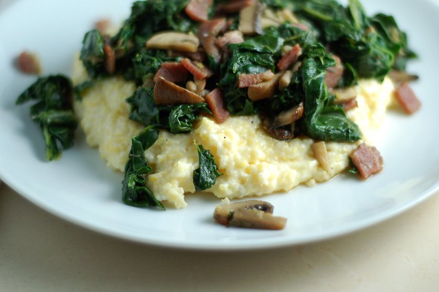 Creamy polenta with bacon, kale and mushrooms by Eve Fox, the Garden of Eating, copyright 2015