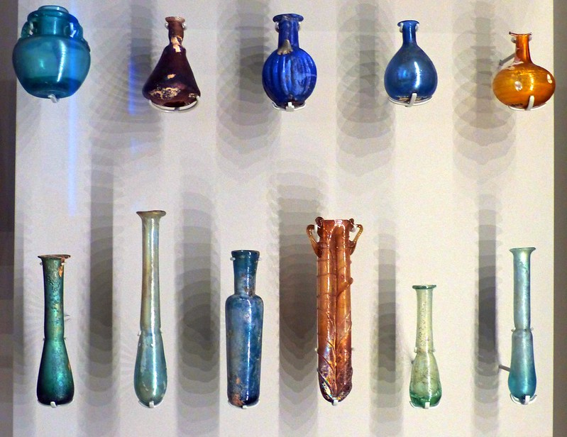 Roman blown glass receptacles for perfume