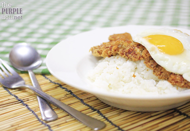 Katsu and Egg on Dona Maria Jasponica Rice