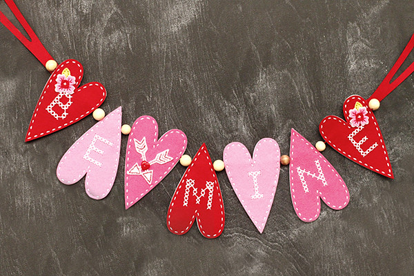 Felt Garland with Stitched Primitive Heart