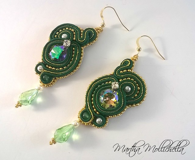 Soutache earrings handmade in Italy soutache jewelry by Martha Mollichella