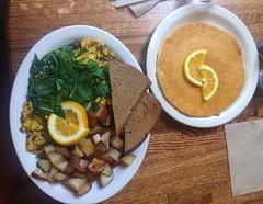 Breakfast of Greek tofu scramble with toast and potatoes and pancake at #dharmasrestaurant #veganbreakfast #whatveganseat