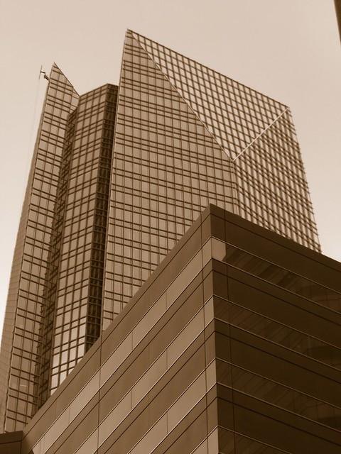 Devon Energy Building in Oklahoma City in sepia