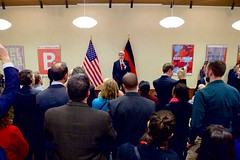 U.S. Secretary of State John Kerry addresses staffers and family members at U.S. Embassy Berlin in Berlin, Germany, on December 5, 2016, before a bilateral meeting with German Foreign Minister Frank-Walter Steinmeier, and his receiving the Order of Merit from the German government. [State Department photo/ Public Domain]