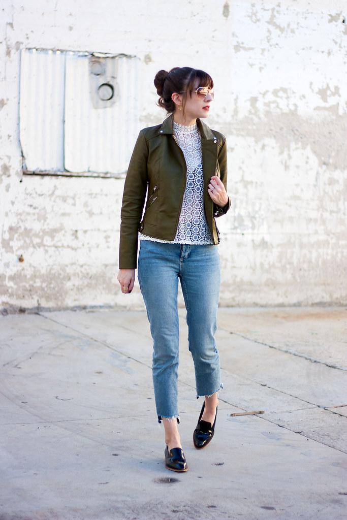 Olive Jacket, Everlane Loafers