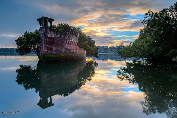 <strong>Khu rừng 102 năm tuổi </strong> ở gần Sydney, Australia. Khi địa điểm này bị đóng cửa sau Thế chiến thứ 2, một số con thuyền vẫn còn giữ nguyên tại vị trí và mang một vẻ âm u, bí hiểm đến tận ngày nay.