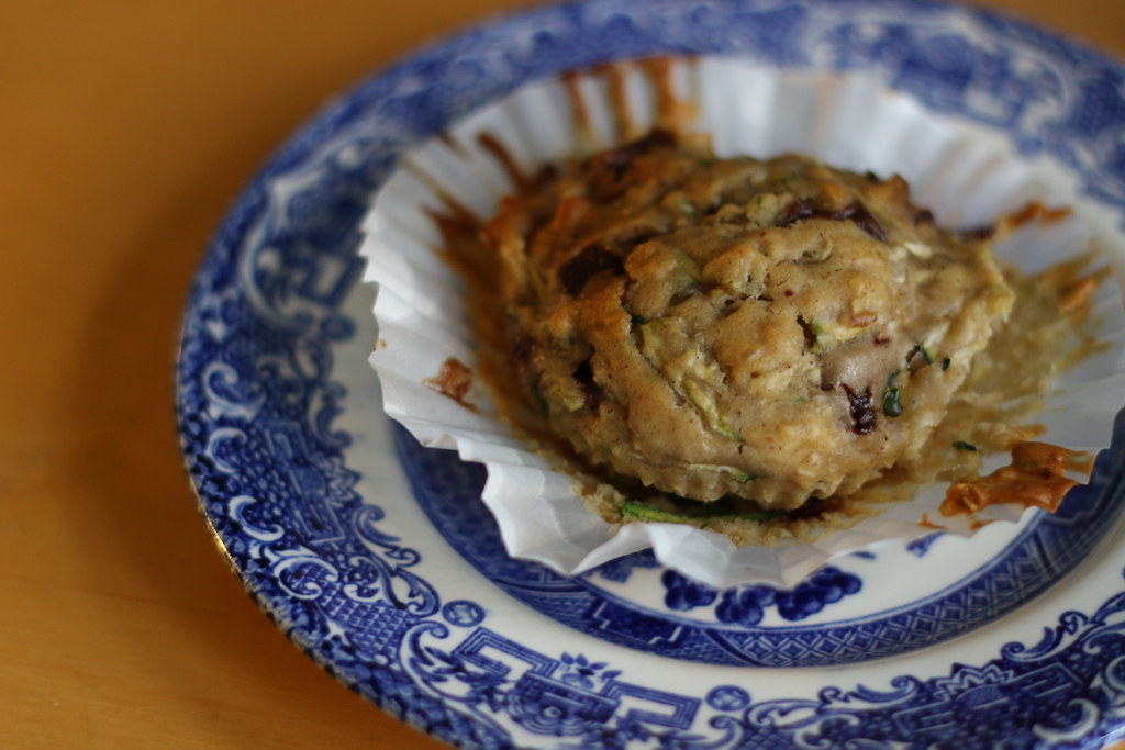 Sweet courgette muffin on plate