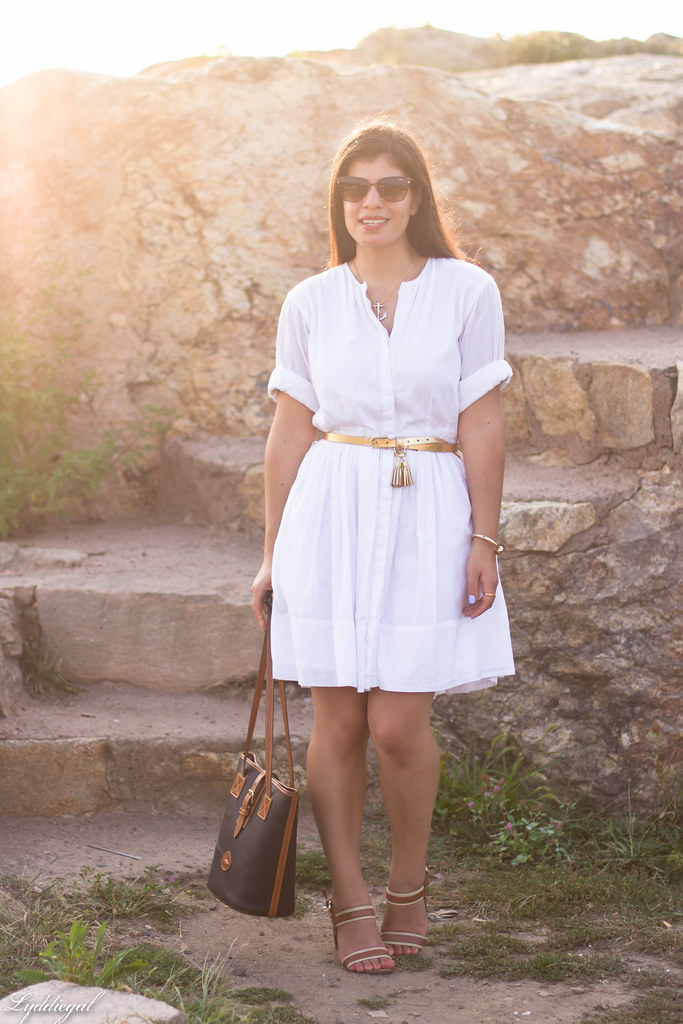 white shirt dress, gold tassel belt, brown sandals-2.jpg
