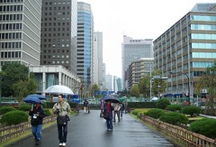Japan (Tokyo)  Ginza under rain..The Ginza is Tokyo's most famous upmarket shopping, dining and entertainment district.