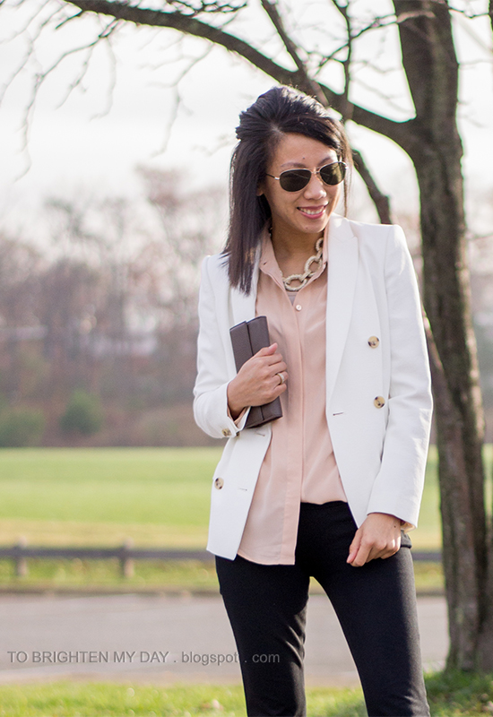 gold pave chain statement necklace, white blazer, nude silk blouse