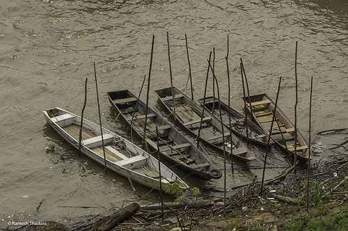 Canoes on the Amazon river