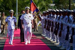 Vice Adm. Ouk Seyha, left, and Rear Adm. Charles Williams, commander of Task Force 73, pass an honor guard Nov. 16 while arriving for events kicking off exercise Cooperation Afloat Readiness and Training (CARAT) Cambodia 2015. (U.S. Navy/MC1 Micah P. Blechner)
