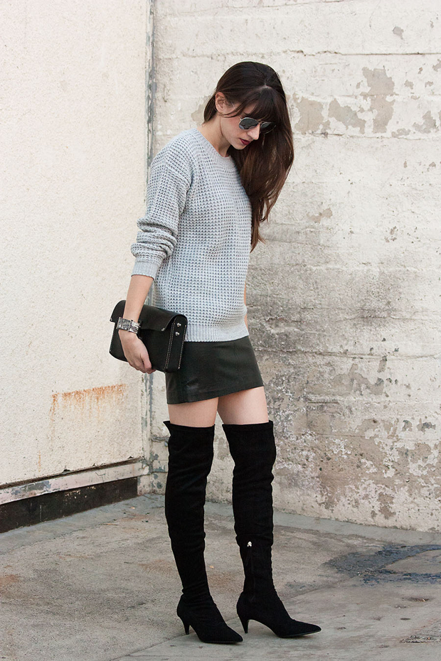 Black Over the Knee Boots, Zara Boots, Oversized Knit Sweater