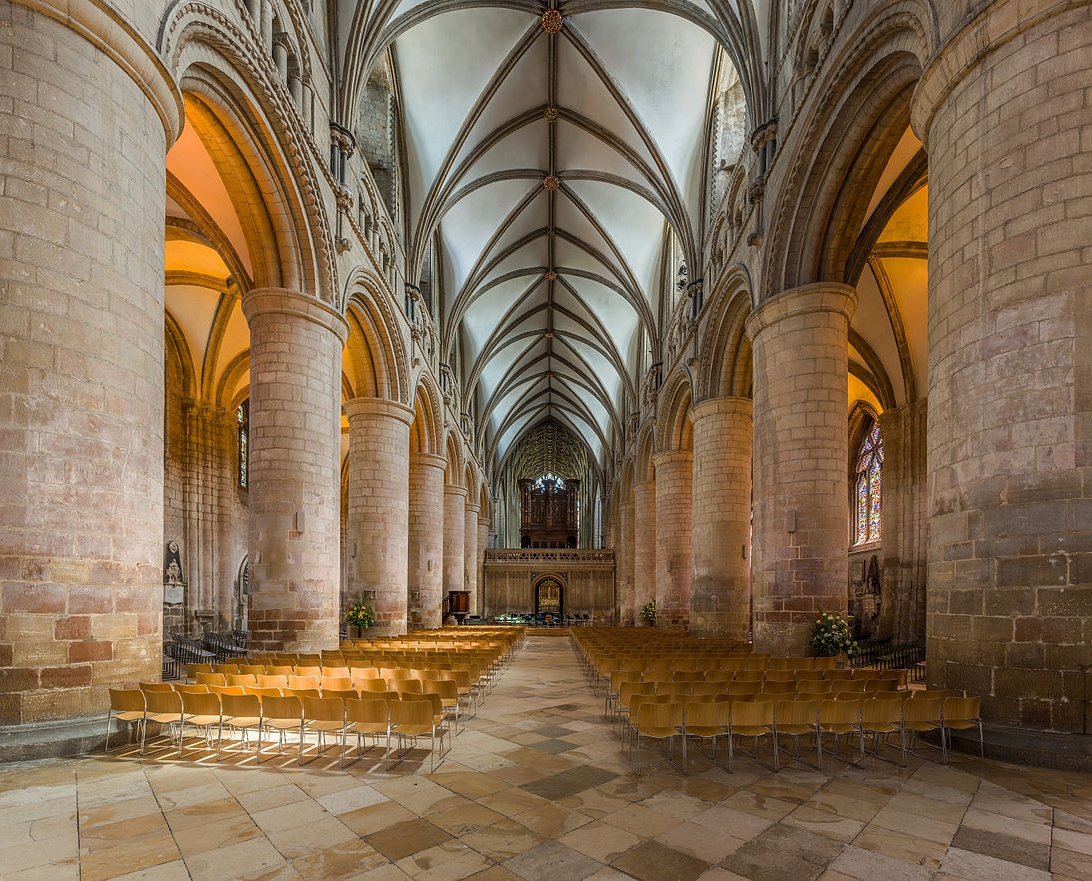 Gloucester Cathedral - The nave looking east toward the choir. Credit: David Iliff