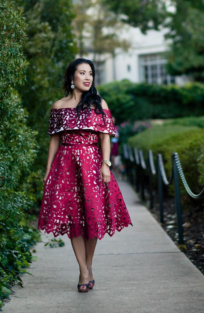 cute & little blog | petite fashion | wine red laser-cut off shoulder dress, glitter pumps | winter holiday dress - Wine Red Holiday Dress by Dallas petite fashion blogger cute & little