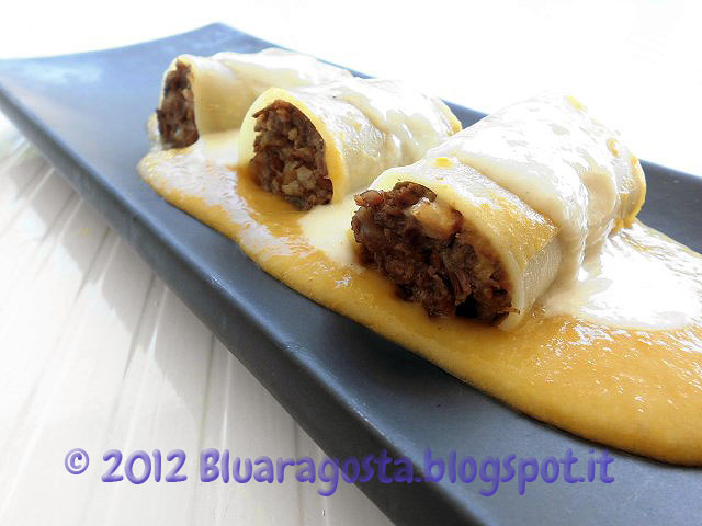 3-paccheri ripieni di coda con fonduta di formaggio di grotta