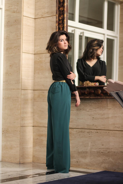 look de fiesta con palazzo verde myblueberrynightsblog