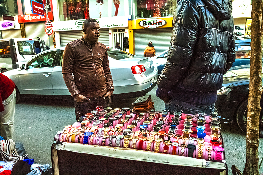 Africans selling watches in Kumkapi--Istanbul