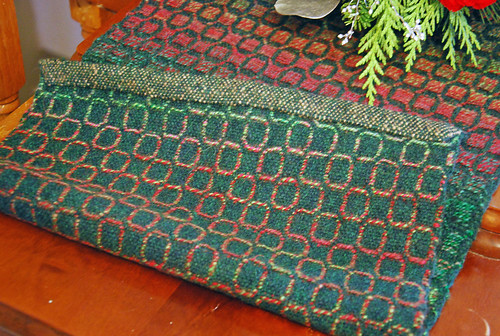 Reverse woven fabric overshot handspun table runner by irieknit