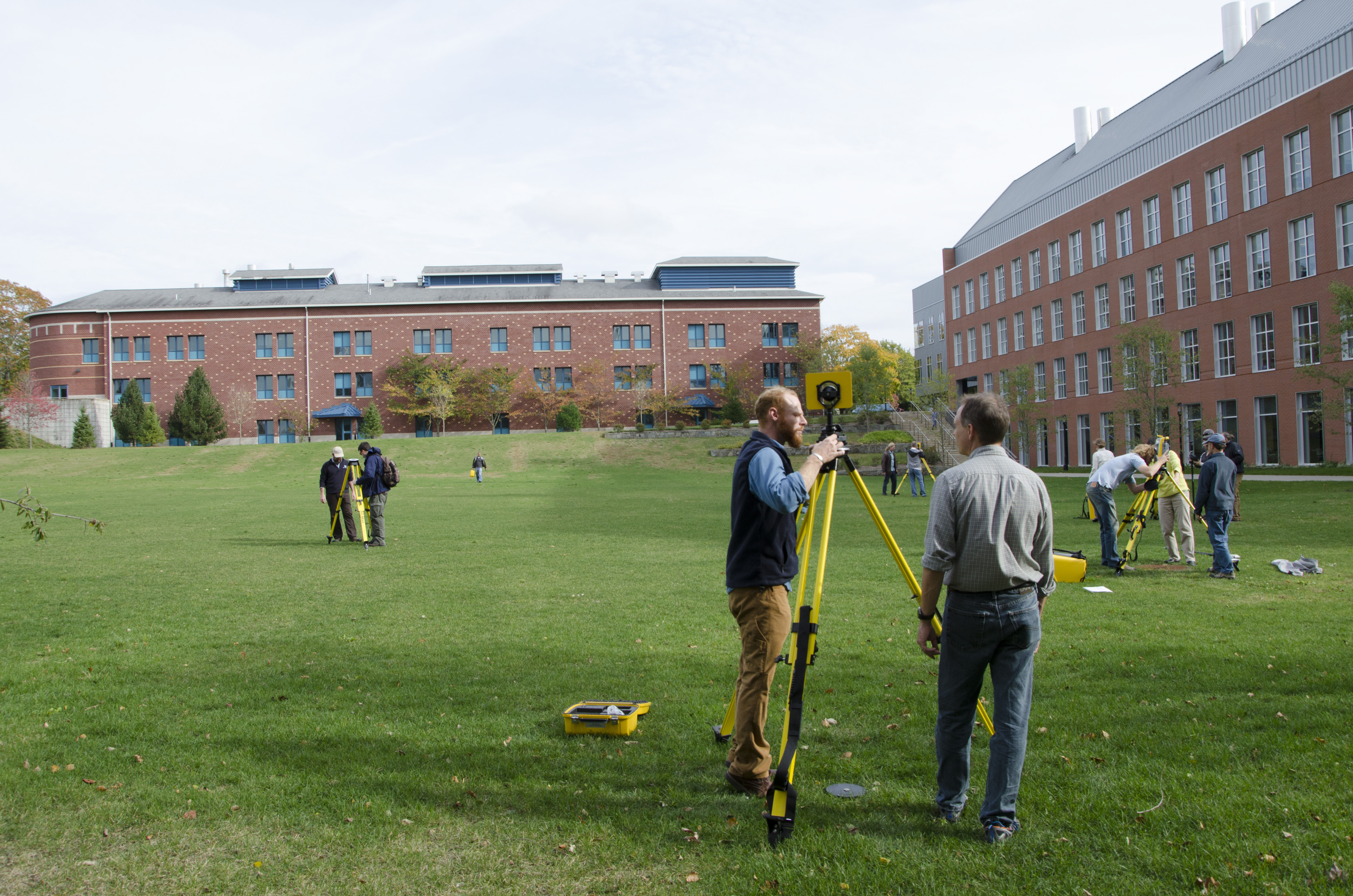 The new units are also significantly more accurate than models previously available to NPS staff. The lawn outside of the URI Coastal Institute, where the training took place, is similar in size to discrete park sites that are slated for elevation data collection. With older equipment, surveying an area this size would take several researchers weeks to complete, and results would be accurate to within centimeters. With the new equipment, the same survey will take one person only a day or two to complete and will offer results within millimeters of accuracy. NPS photo/E. Nicosia.