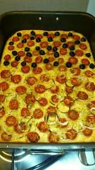 tarte flambã©e, food, focaccia, dish, cuisine, pepperoni,