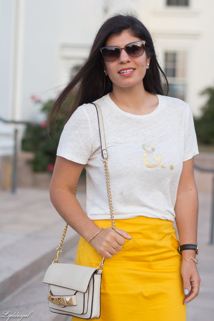 ampersand tee, yellow pencil skirt, studded bag-5.jpg